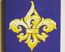 LSU Decor, Fleur de Lis Painting, LSU Wall Art, LSU Painting, Fleur de Lis Wall Art, Fleur de Lis Decor, Louisiana Art, Baton Rouge Art
