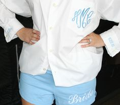 Oversized button monogram bride shirt with Bride Soffe Shorts. Love this set!