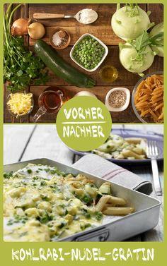 http://eatsmarter.de/rezepte/kohlrabi-nudel-gratin – Samtige Béchamelsauce und goldgelb geschmolzener Käse führen zum Pastaglück