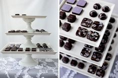 At your engagement party, 'WOW' your guests with a beautiful dessert display full of handmade, hand-decorated bonbons. #partyideas #desserttable #engagement