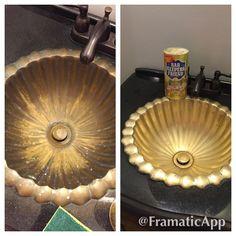 Use Bar Keepers Friend on brass bathroom sinks. It works great!!