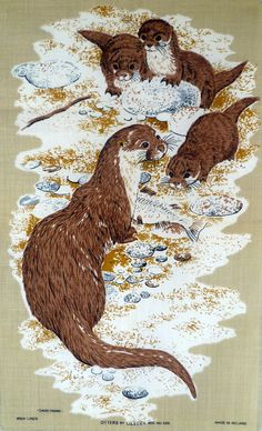 Vintage Otters Linen Tea Towel by ReliveRetro on Etsy