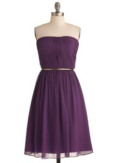 Time of My Life Dress in Mulberry - Short, Purple, Solid, Formal, Wedding, Party, A-line, Strapless, Belted, Ruching