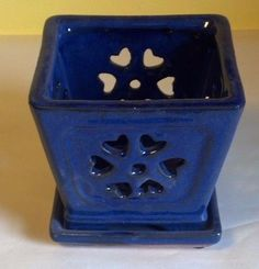 Lovely Classic Ceramic Orchid Pot Blue Square New | eBay