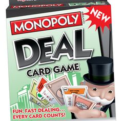 MONOPOLY DEAL Card Game. One of my favorite games. I highly recommend it. Kids love it too.