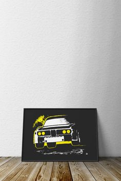 """Based on the aluminum and perspex lightweight special lovingly known as the """"batmobile"""", the CSL design is a fitting tribute to one of BMW's other great homologation racecars. 12"""" x 16"""" , printed on m"""