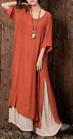 Cheap best O-NEWE Vintage Solid Half Sleeve Fake Two-Piece Maxi Dress For Women on Newchic, there is always a plus size maxi dresse suits you! Mode Abaya, Mode Hijab, Boho Fashion, Vintage Fashion, Fashion Outfits, Womens Fashion, Steampunk Fashion, Gothic Fashion, Bohemian Mode
