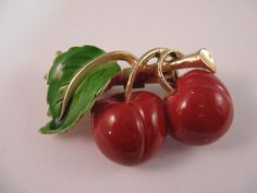 Vintage Gold Tone Enamel Red Cherry Green Leaf Pin Brooch