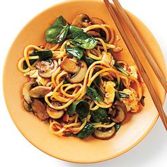 Stir-Fried Chinese Egg Noodles Recipe by Cooking Light Chinese Egg Noodles Recipe, Healthy Cooking, Cooking Recipes, Healthy Eating, Egg Noodle Recipes, Asian Recipes, Ethnic Recipes, Chinese Recipes, Asian Foods