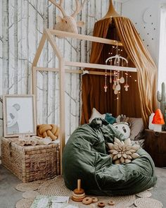 There are several accounts on Instagram that give me all the heart eyes  and @homeofthewildlings is one of them. Tahnee has worked her magic here by including a gorgeous Kombu Green Kip and Co velvet beanbag from Milk Tooth. These bad boys are part of our EOFY sale so get onto them while they last x