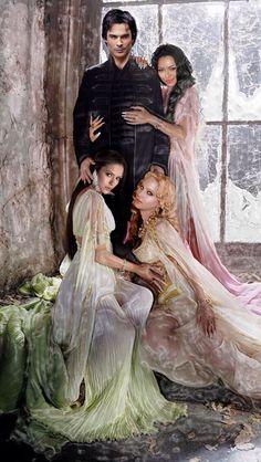 Damon, Elena, Bonnie and Caroline