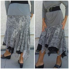 "Fancy Dress SKIRT with LOTS details Hanky hem, high-low, triple layer, sequin skirt,  gray and black flower geometric design on gray cream background, drop waist, all three layers are shear, sequins on bottom of middle layer in front. Blouse and belt shown in picture two are not included in this deal but will be posted soon. 34"" waist,  32"" longest length of patterned tier, 24"" shortest length of the patterned tiet, 16"" shortest length (but doest start at waist, starts at drop waist) of…"
