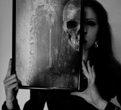 black, dark, girl, grey, makeup, mirror, picture, skeleton, white