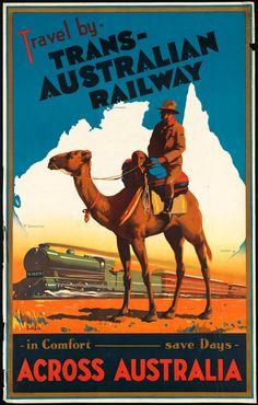 Poster van de 'trans-australian railway', de trein dwars door Australië. https://www.hotelkamerveiling.nl