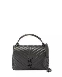 Monogram College Medium Shoulder Bag, Black