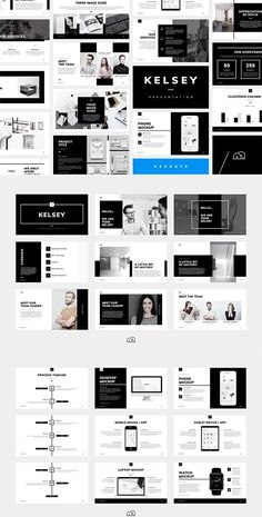 For those looking for a professional Keynote presentation, 'Kelsey' offers a beautifully minimal design packed with a wealth of features Built with the creative industries in mind, but can be fully customised to suit any business or industry - p Web Design, Layout Design, Presentation Layout, Presentation Templates, Photoshop, Design Typography, Pitch Deck, Graphic Design Templates, Keynote Template