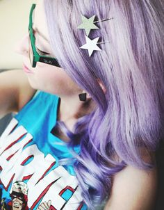 Bleed in Colors: WHAT I WORE : STARS #saraharvey #purplehair #hairpins