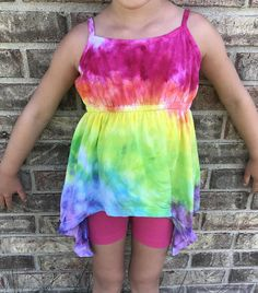 e18fee6c1c6 Tie dye girls tank size 4T summer hand dyed sleeveless top ice dye birthday  gift unique color girls clothes tiedye rainbow girls tank top