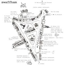 Strattons map, created by Strattons Hotel, showing the various shops in town