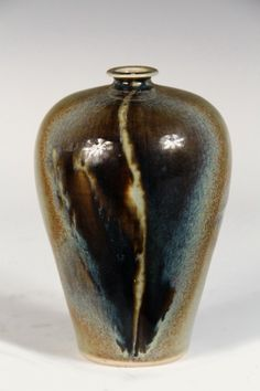 """Vase by Brother Thomas  Bezanson (1929-2007), Benedictine Monk of the Weston, VT Priory: Tapered Tall Shouldered Form with small flared collar opening, in variegated spruce ash glaze, inscribed for the monastery, stamped '190.2', marked with BT's monogram and number 4/1. 7"""" tall, 4 3/4"""" diam"""