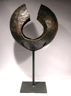 """Large Mbole, DRC (Democratic Republic of Congo) Copper """"Anklet"""" Currency Display Stand"""