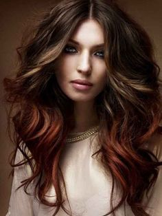 Long layered brown hairstyle with dark auburn dip and dye