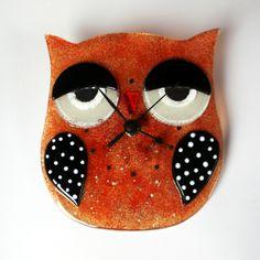 Fused glass Owl Clock