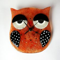 Fused glass Owl Clock