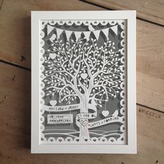 personalised love tree papercut with bunting by papercuts by cefuk | notonthehighstreet.com