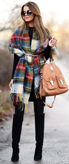 stylish look | plaid poncho + black dress + bag + high boots