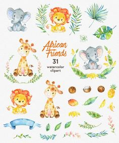 African Friends. Watercolor animals clipart lion elephant