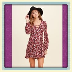 FINAL SALEHollister Crepe Lace-up Dress A definitely-cute dress featuring lace-up detail at neckline, cinched sleeves, cute all-over pattern and flared hem, Easy Fit. Runs true to size. Very beautiful  Hollister Dresses Mini