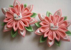 Fabric Flower flores de tela kitty