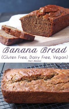 Banana bread Super easy and super tasty Gluten Free Banana Bread. Dairy Free and Vegan, too! gluten-free-banana-bread-dairy-free-and-vegan Patisserie Sans Gluten, Dessert Sans Gluten, Gluten Free Desserts, Vegan Desserts, Vegan Recipes, Bread Recipes, Mexican Desserts, Gluten Free Banana Bread, Gluten Free Baking