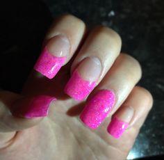 Pink glitter square gel nails