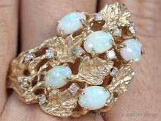 SEE MORE ON http://www.hawaiijewelrybuyers.com/  #VINTAGE HEAVY 14K YELLOW GOLD #OPAL &  #DIAMOND TREE BRANCH CLUSTER RING (SZ 9) #Cluster