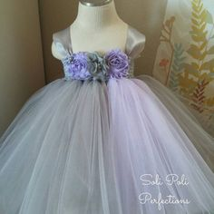Grey and Lavender Party Dress Flower Girl by SoliPoliPerfections