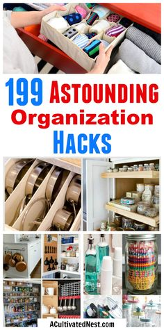 199 Home Organization Hacks- Getting your home organized can be tricky, but not if you know these amazing organization hacks! No matter what area of your home needs to be organized, these home organization hacks are sure to help! | small space organizing, bedroom organization, garage organization, kitchen organization, bathroom organization, laundry room, apartment organization, pantry, #organizing #organize #organization #homeOrganization #organizeYourHome via @ACultivatedNest
