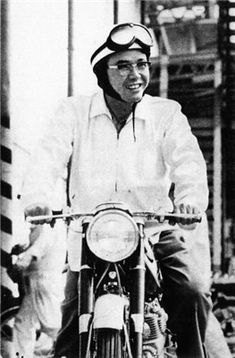 Soichiro Honda on a Honda motor bike. Classic Honda Motorcycles, Cars And Motorcycles, Soichiro Honda, Cb 450, Honda Cub, Mario Andretti, Honda Motors, Outboard Motors, Mini Bike