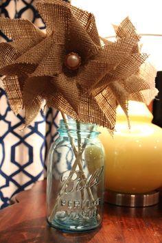 burlap pinwheel centerpieces