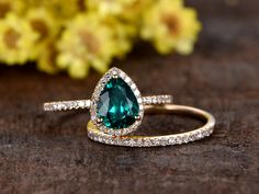 1 Carat Teardrop Emerald Wedding Set Diamond Bridal Ring 14k Rose Gold Stacking Thin Eternity Band
