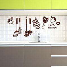 Happy Kitchen Sticker Autocollant Mural Décor Maison Cuisine Mur Decal 45x60cm
