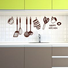 Happy Kitchen Sticker Autocollant Mural Décor Maison Cuisine Mur Decal 45x60cm