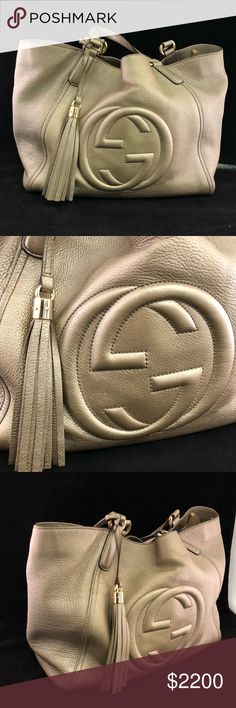 Gucci Soho Tassel Metallic Gold Leather Hobo Bag A beautiful and authentic Gucci Soho Tassel Tote Hobo Bag in Gold Metallic Leather. It is in great condition but has a few little stains on the interior. You will love this bag! Gucci Bags Totes