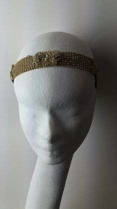 Crystals Bandeau velvet , goldplated headband and belt , edwardian dowtonabbey and art deco style by Marco Apollonio