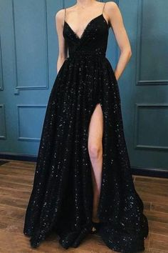 Sparkle Sequin Spaghetti Strap Black Long Prom Dresses With Slit Evening, This dress could be custom made, there are no extra cost to do custom size and color Prom Outfits, Prom Party Dresses, Mode Outfits, Occasion Dresses, Wedding Dresses, Homecoming Dresses, Gown With Slit, The Dress, Dress Long