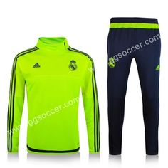 2015-16 Real Madrid Fluorescent Green Thailand Soccer Tracksuit