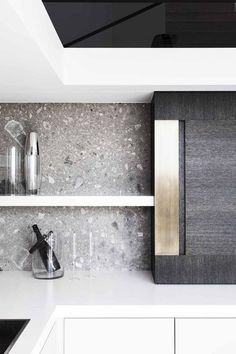 I love the colour of this splashback and I love how terrazzo is used as a splashback. It's just such a unique idea. Kitchen Themes, Kitchen Decor, Kitchen Storage, Kitchen Ideas, Küchen Design, House Design, Design Ideas, Ideas Hogar, Splashback