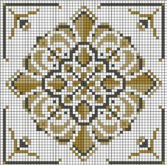 Vintage square motif needlepoint pattern Use as crochet pattern Biscornu Cross Stitch, Cross Stitch Pillow, Cross Stitch Borders, Cross Stitch Flowers, Cross Stitch Charts, Counted Cross Stitch Patterns, Cross Stitch Designs, Cross Stitching, Cross Stitch Embroidery