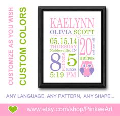 Personalized baby gifts airplane birth stats wall art baby boy girls birth stats owl nursery birth print custom baby birth date print personalized baby decor baby print baby stats art new baby gifts negle Gallery
